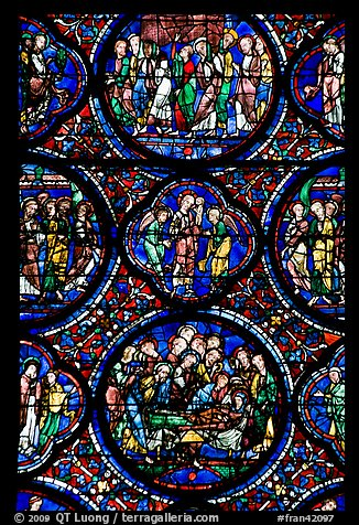 Stained glass window motif, Cathedral of Our Lady of Chartres. France (color)