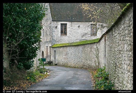 Street and stone wall, Provins. France (color)