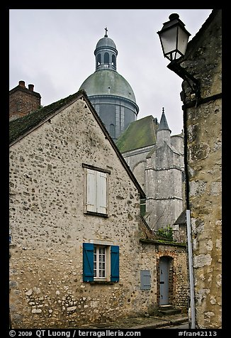 Stone houses and dome of Saint Quiriace Collegiate Church, Provins. France (color)
