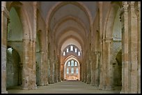 Church nave, Fontenay Abbey. Burgundy, France ( color)
