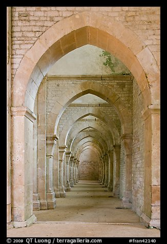 Row of arches, Abbaye de Fontenay. Burgundy, France (color)