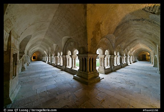 Wide view of cloister galleries, Fontenay Abbey. Burgundy, France (color)
