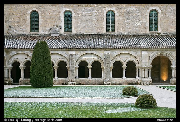 Cloister garden, Cistercian Abbey of Fontenay. Burgundy, France (color)