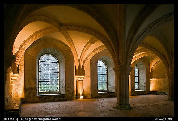 Rib-vaults, monks room, Cistercian Abbey of Fontenay. Burgundy, France (color)