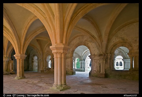 Rib-vaulted council room, Abbaye de Fontenay. Burgundy, France (color)