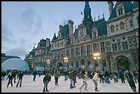 Hotel de Ville with Christmas ice ring. Paris, France