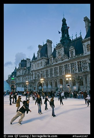Holiday ice ring in front of the city hall. Paris, France