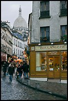 Boulangerie and Sacre-Coeur Basilic, Montmartre. Paris, France (color)