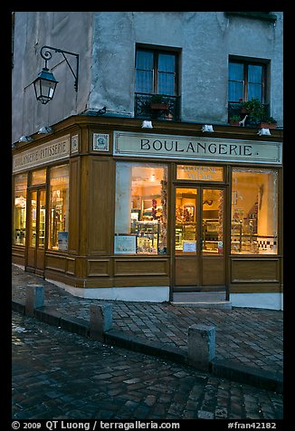 Boulangerie at dusk, Montmartre. Paris, France (color)