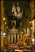 Street, Notre-Dame de Lorette Church, and Sacre-Coeur basilica, Montmartre. Paris, France (color)