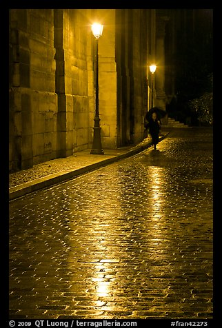 Street lamps reflected in wet pavement, with woman walking. Paris, France (color)