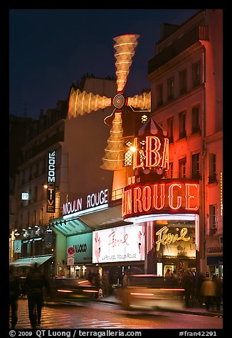 Moulin Rouge (Red Mill) Cabaret by night. Paris, France (color)