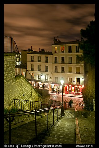 Looking down stairway by night, Montmartre. Paris, France (color)