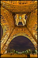 Eiffel Tower from below and Champs de Mars at night. Paris, France ( color)