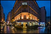 Hotel and pedestrian streets at night. Quartier Latin, Paris, France ( color)