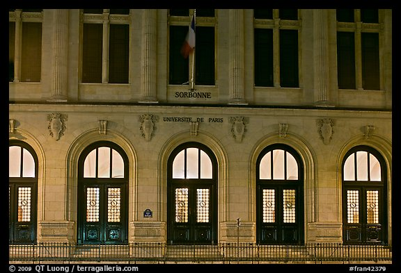 Main entrance of Sorbonne University. Quartier Latin, Paris, France (color)