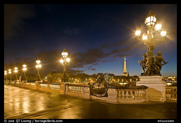 Lamps on Pont Alexandre III by night. Paris, France (color)