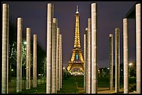 Memorial with word peace written on 32 columns in 32 languages. Paris, France ( color)