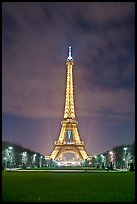 Lawns of Champs de Mars and Eiffel Tower at night. Paris, France ( color)