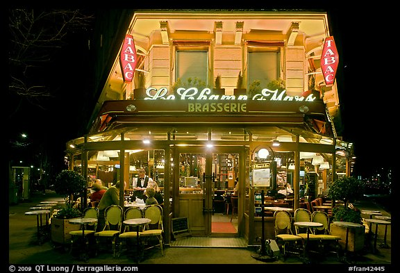 Brasserie by night. Paris, France (color)