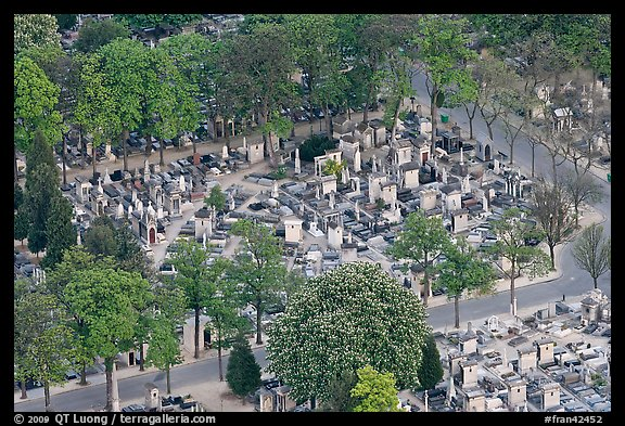 Montparnasse Cemetery from above. Paris, France (color)