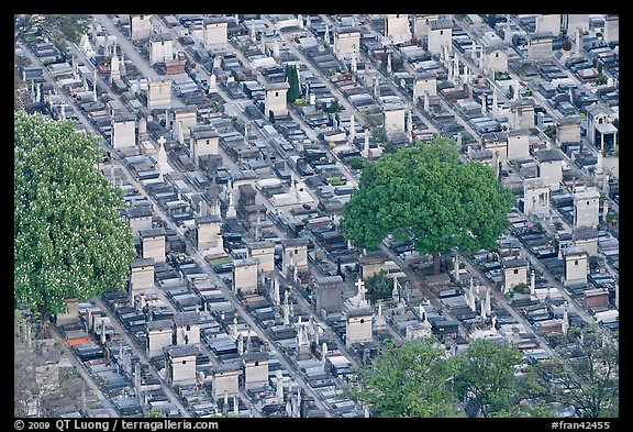 Aerial view of tombs, Montparnasse Cemetery. Paris, France (color)