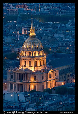 Invalides dome at night from above. Paris, France (color)