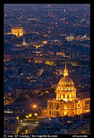 Invalides and Arc de Triomphe at night. Paris, France (color)