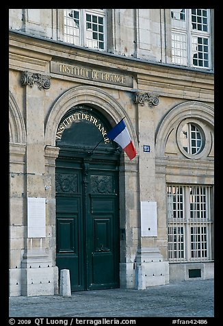 Entrance of the Institut de France. Quartier Latin, Paris, France (color)