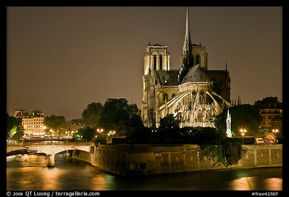 Ile de la Cite and Notre Dame de Paris rear by night. Paris, France (color)