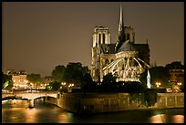 Ile de la Cite and Notre Dame de Paris rear by night. Paris, France