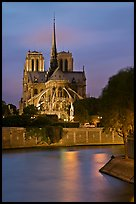 Banks of the Seine River and Notre Dame at twilight. Paris, France ( color)