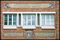 Facade of historic public baths. Paris, France (color)