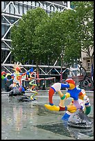 Fontaine des automates with modern colorful sculptures. Paris, France (color)