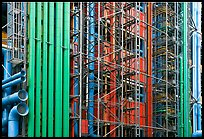 Exposed skeleton of brightly colored tubes, Pompidou Centre. Paris, France (color)
