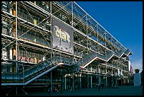 Facade of the Pompidou Center, designed by Renzo Piano and Richard Rogers. Paris, France (color)