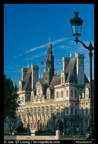 Street lamp and Hotel de Ville, afternoon. Paris, France (color)