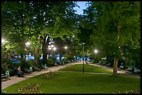 Park on the tip of Ile de la Cite at dusk. Paris, France