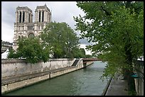 Seine and Notre-Dame facade in the spring. Paris, France (color)