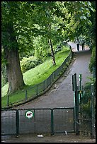 Park with couple in the distance, Montmartre. Paris, France (color)