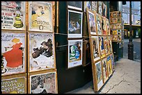 Reproduction of period posters for sale, Montmartre. Paris, France (color)