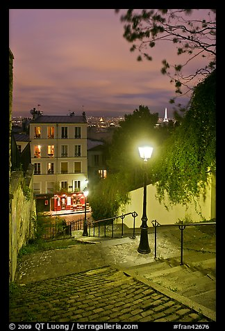 Hillside stairs, street lights, and Eiffel Tower in the distance, Montmartre. Paris, France