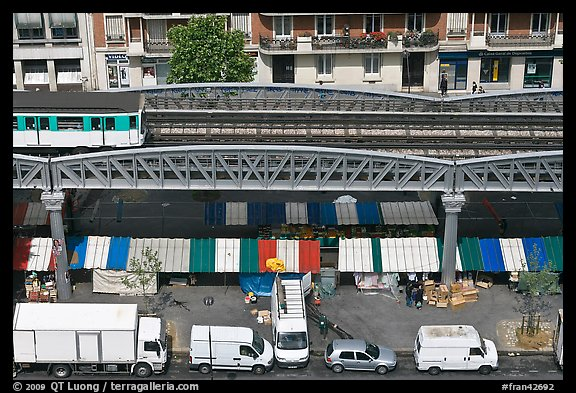 Aerial portion of metro from above, with public market stalls below. Paris, France (color)