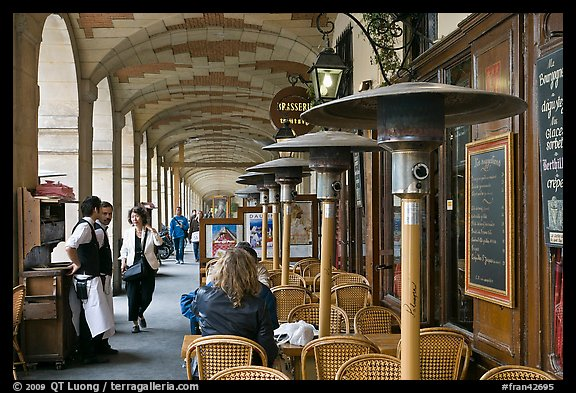 Outdoor Cafe Tables And Heating Lamps Place Des Vosges Paris France