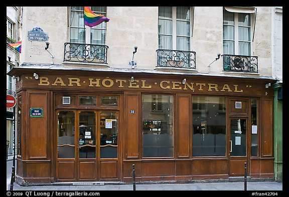 Picture Photo Old Bar Hotel And Rainbow Flag Paris France