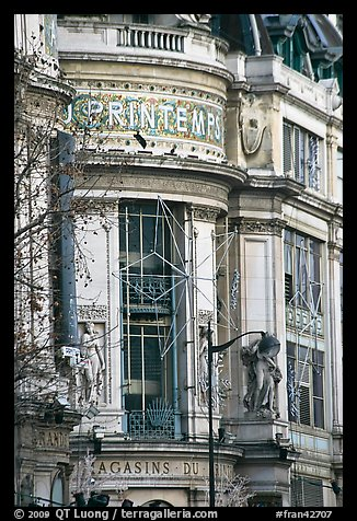 Facade detail of Printemps department store. Paris, France (color)