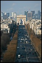 Champs-Elysees, Arc de Triomphe, and La Defense, from Ferris Wheel. Paris, France (color)