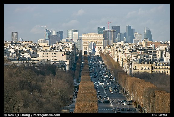 picture photo aerial view of champs elysees arc de triomphe and la defense paris france. Black Bedroom Furniture Sets. Home Design Ideas