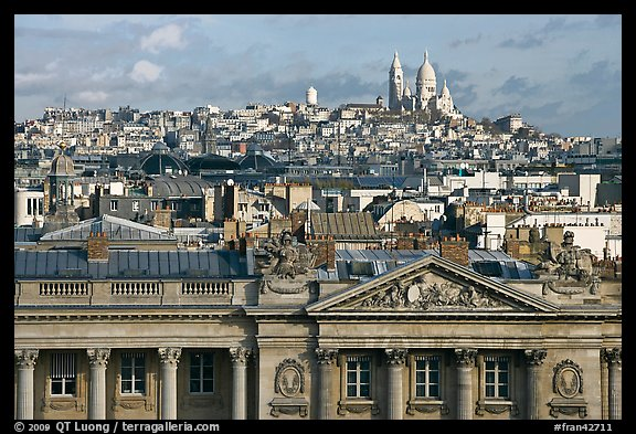 Classical building, Rooftops and Butte Montmartre. Paris, France (color)