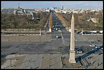 Place de la Concorde, Obelisk, Grand Palais, and Champs-Elysees. Paris, France (color)
